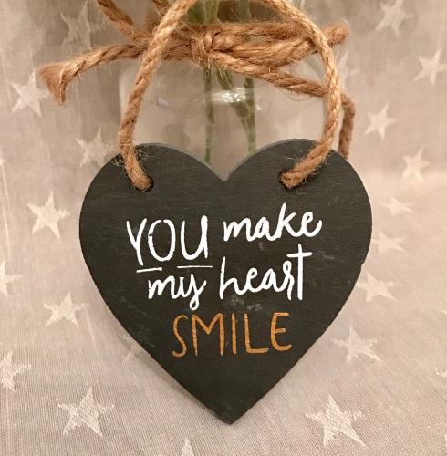 You Make My Heart Smile Slate Mini Heart