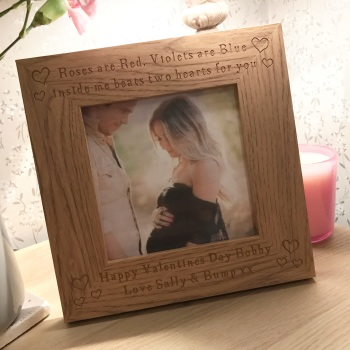 Two Hearts Beat Oak Valentines Frame