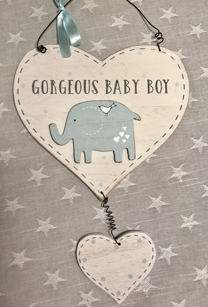 Baby Boy Wooden Double Heart