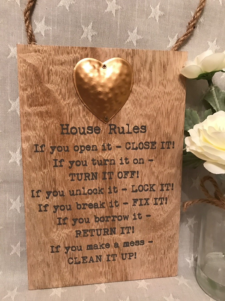 House Rules Wooden Hanging Plaque