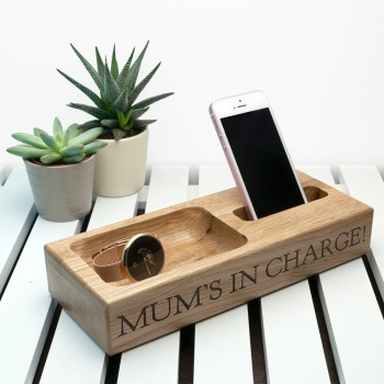Personalised Oak Phone/Trinket Stand