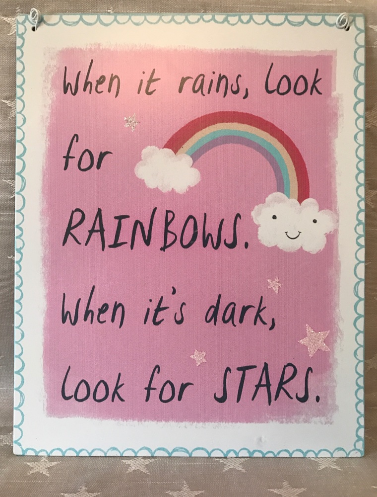 When It Rains Pretty Pastel Plaque