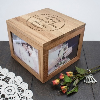 Solid Oak Wedding Memories Photo Keepsake Box
