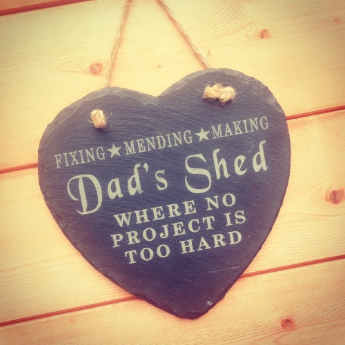 Dad's Shed Slate Heart