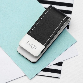 Black Leather Dad Money Clip