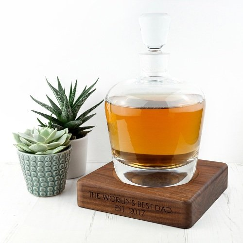 Personalised Whiskey Decanter & Personalised Walnut Base