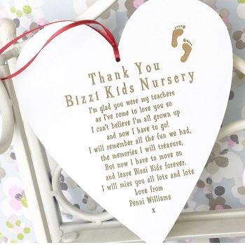 Thank You Nursery Hanging Heart