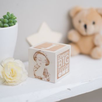 Oak Wooden Building Block With Photo, Inital and Personalised Message