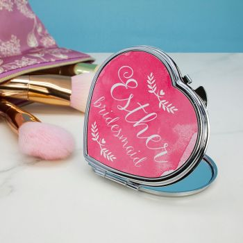 Heart Shaped Personalised Compact Mirror
