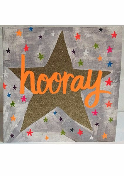 Hooray Sparkly Star Card