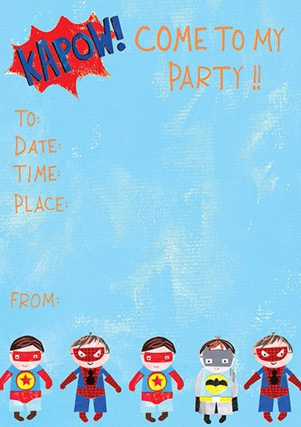 Blue Superhero Party Invite Pack