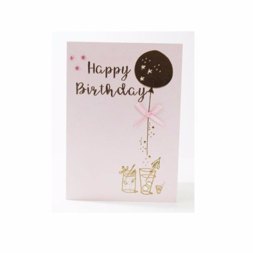 Pink & Gold Birthday Balloon Card