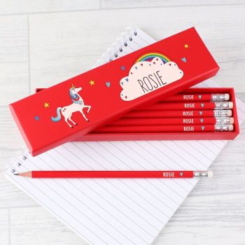 Unicorn Box Of Personalised Pencils