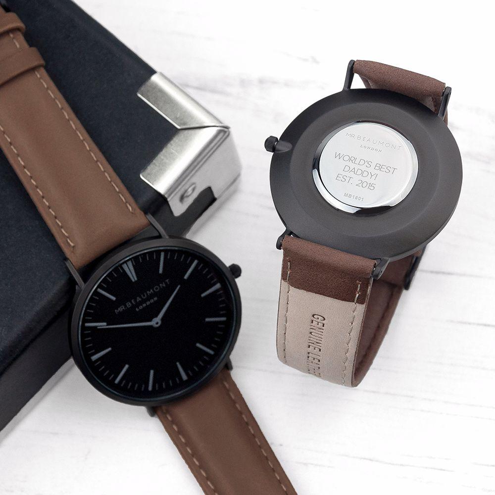 Mens Modern Vintage Personalised Brown Watch