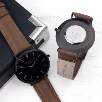 Mens Modern Vintage Personalised Brown Watch