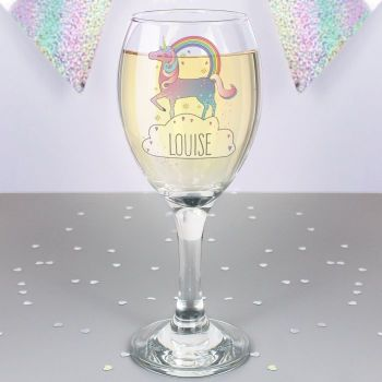 Unicorn Personalised Wine Glass