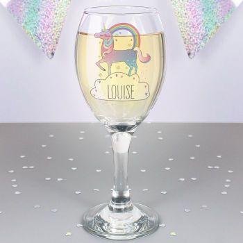 Unicorn Personalised Wine Glass