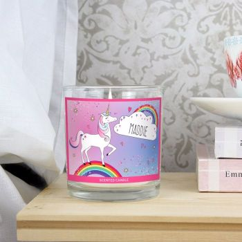 Scented Personalised Unicorn Candle