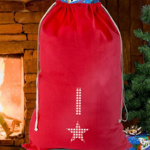 Initial Gingham Christmas Sack