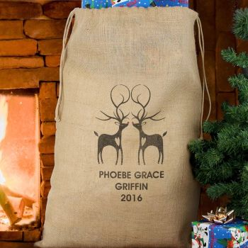 Reindeer Couple Personalised Sack