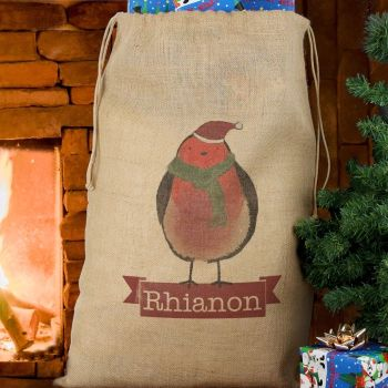 Robin Personalised Hessian Sack