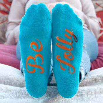 Personalised Turquoise and Terracotta Christmas Socks