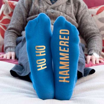 Personalised Blue and Yellow Christmas Day Socks