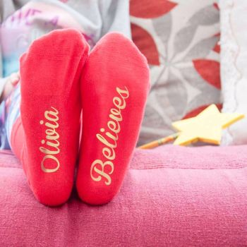 Personalised Childrens Red and Gold Christmas Socks