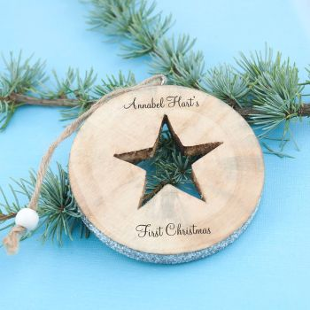 Hand Crafted Wooden Cut Out Sparkle Star Decoration
