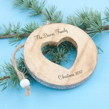 Hand Crafted Wooden Cut Out Sparkle Heart Decoration