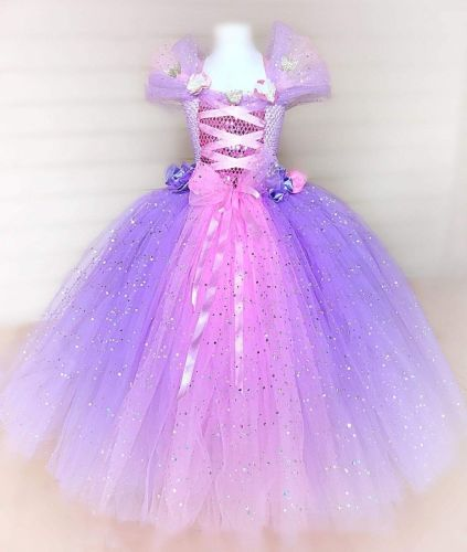 Rapunzel Inspired Tutu Dress (Age 3-4)