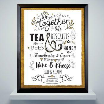 We Go Together Personalised Framed Print