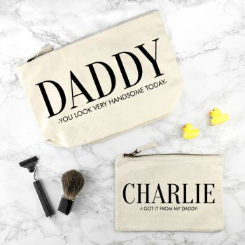 Daddy & Me Matching Cream Wash Bags
