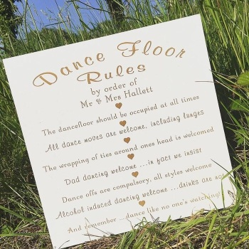 Dance Floor Rules Sign