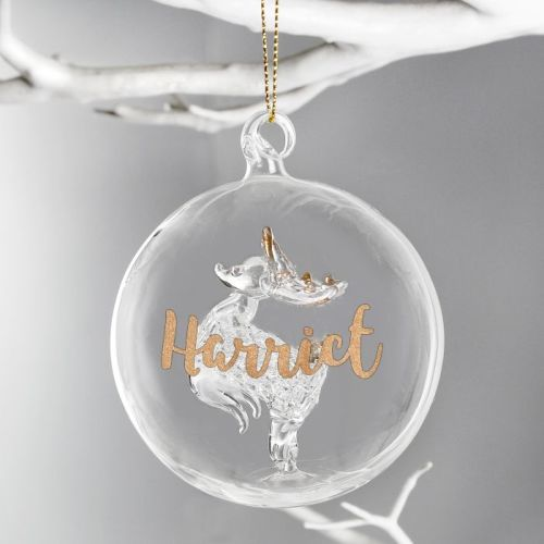 Personalised Glitter Reindeer Glass Bauble