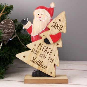Santa Please Stop Here Standing Personalised Sign