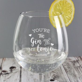 Gin To My Tonic Personalised Balloon Glass