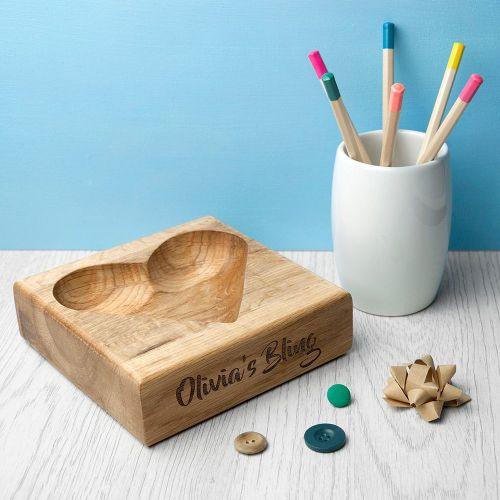 Personalised Oak Heart Shaped Trinket Dish