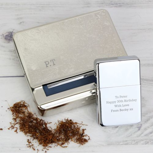 Tobacco Rolling Tin & Lighter Personalised Gift Set