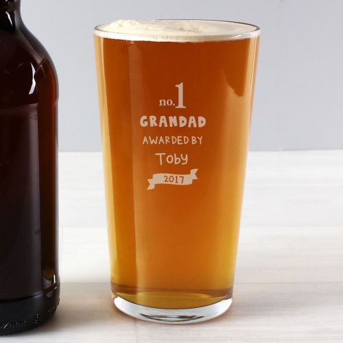 Number 1 Grandad/Dad Personalised Glass