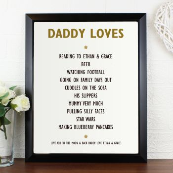 Things Daddy Loves Personalised Print