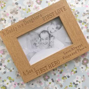Daddy, Daughter & Wooden Frame