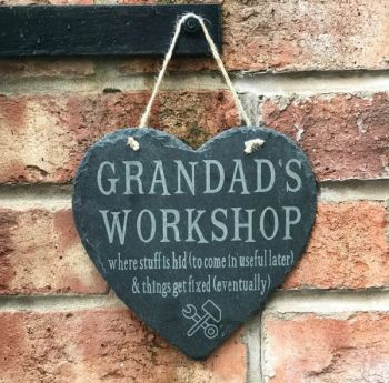 Dad/Grandad's Workshop Personalised Slate Hanging Heart