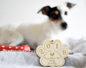 Paw Print Personalised Hanging Decoration