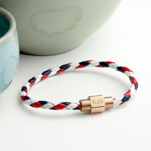 Nautical Personalised Mens Leather Bracelet