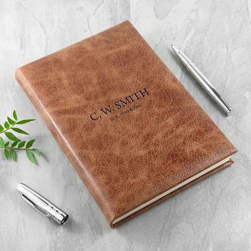 Leather Engraved Natural Tan Personalised Notebook