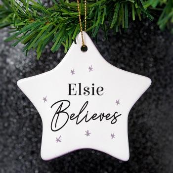 'Believe' Personalised Ceramic Star