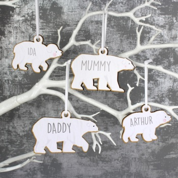 Family Of 4 Hanging Polar Bear Wooden Decorations