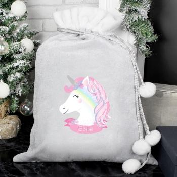 Luxury Grey Personalised Unicorn Sack