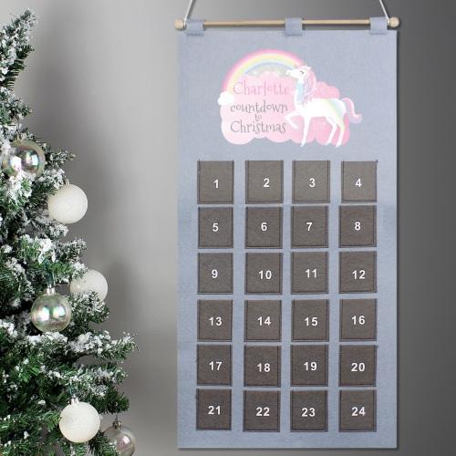 Unicorn Personalised Felt Advent Calendar
